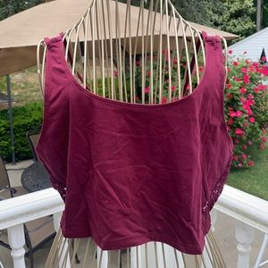 Burgundy Lace Crop Top